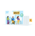 travel background happy characters family couples vector image vector image
