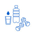 water glass plastic bottle and dumbbells icons vector image