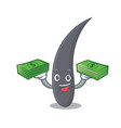 with money bag hair mascot cartoon style vector image vector image