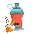 with trumpet aerosol spray can character cartoon vector image vector image
