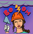 woman builder lightning beats on the head vector image vector image