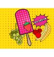 Ice cream pop art style vector image