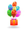 Gift box and flying balloons vector image