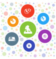 7 disc icons vector image vector image