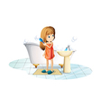 A girl combing her hair vector image vector image