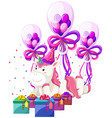 a unicorn with birthday theme vector image