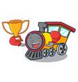 boxing winner train mascot cartoon style vector image vector image