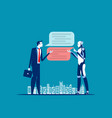businessman chatting for help bot concept vector image