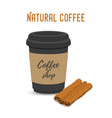 cartoon brown cinnamon black cup of coffee vector image