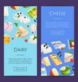 cartoon dairy and cheese products web vector image vector image