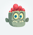 cartoon funny gray zombie head surprised vector image vector image