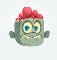 cartoon funny gray zombie head surprised vector image