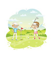 children plays golf on a golf course vector image vector image