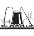 construction cooling tower in power plant vector image vector image