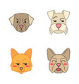 dogs cute kawaii characters vector image