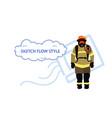 fireman wearing protective uniform and helmet man vector image vector image