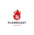 flame fire podcast mic logo icon vector image vector image