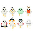 flat ghost set in different costumes isolated on vector image