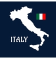flat map italy and national flag vector image