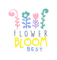 Flower bloom best logo template colorful hand vector image