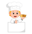 funny chef and sign board vector image vector image