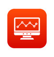 graph in computer screen icon digital red vector image vector image
