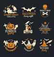 halloween badges party scary logo horror symbols vector image vector image