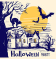 halloween party card with castle and old tree vector image