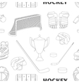 Hand drawn hockey icons pattern vector image