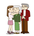 happy family senior couple with pretty daughter vector image vector image