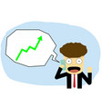 happy man talk on smartphone while stock growth up vector image vector image
