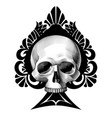 human skull full face in ace spades vector image