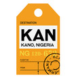 kano airport luggage tag vector image vector image