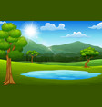 landscape views of mountains in the forest vector image vector image