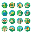 Long hands giving flat icons set vector image vector image