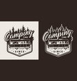 monochrome camping print vector image