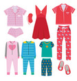 pajamas textile night clothes for kids and vector image