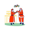 santa eating cookies with wife mrs claus xmas vector image