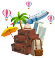 set of travel element vector image vector image