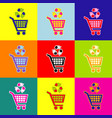 shopping cart icon with a recycle sign pop vector image vector image
