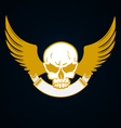 Skull with emblem and wings vector image