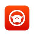 steering wheel icon digital red vector image vector image
