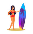 suntanned girl in red swimsuit with surfboard vector image vector image