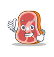 thumb up meat character cartoon food vector image