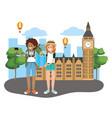 tourist couple cartoons vector image vector image