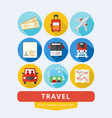 travel icons set flat design vector image vector image