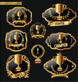trophy and awards laurel wreath labels collection vector image