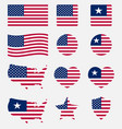 usa flag symbols set united states america vector image vector image