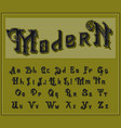 victorian alphabet in ancient style antique old vector image vector image