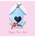 Watercolor christmas birdhouse vector image vector image